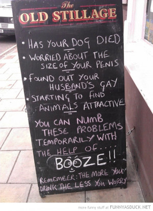 pub bar sign blackboard help of booze drink funny pics pictures pic ...