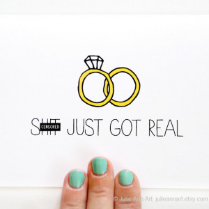 Engagement Card - Wedding Announcement - Shit Just Got Real