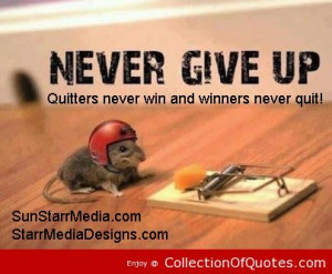 Never Give Up Quitters Never Win And Winners Never Quit Sports Quote