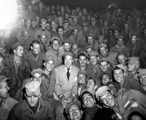 Bob Hope with troops at Womsan Korea, October 26, 1950. Photo by Cpl ...