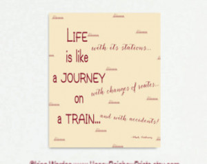 Canvas quote art, life like a train quote, words of wisdom canvas ...