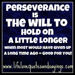 Perseverance is the will to hold on a little longer when most would ...