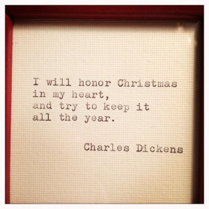 Charles Dickens Framed Christmas Quote Made On Typewriter