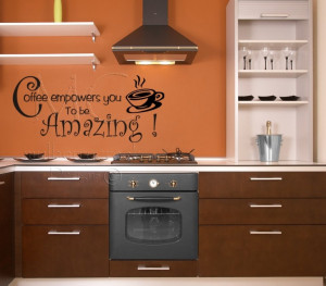 Kitchen Wall Decal Coffee Quote Vinyl Wall Words by MulberryCreek