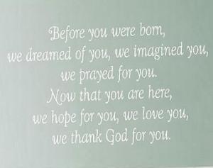 ... Wall Decal - Baby Nursery Girl Boy Poem Quote Saying 22h x 36w BA0155