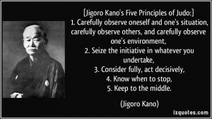 Jigoro Kano's Five Principles of Judo:] 1. Carefully observe oneself ...