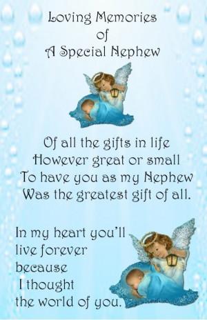 Baby Boy Male Bereavement Grave Card my baby NEPHEW Memorial Keepsake