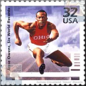 ... Jesse Owens competing in a hurdles event at Ohio State University