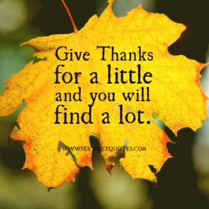 Give thanks for a little and you will find a lot.