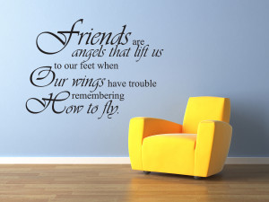 ... -Decal-Sticker-Quote-Vinyl-Friends-are-Angels-Friends-Friendship-J75