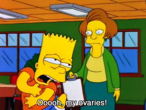 bart simpson, cartoon, funny, ovaries, quote, the simpsons