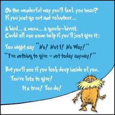 awesome amp fun dr seuss cartoon about volunteering from hands on ...