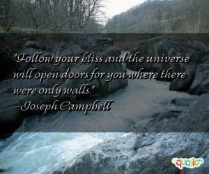 Follow your bliss and the universe will open doors for you where there ...