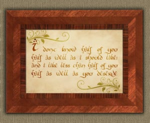 Bilbo Baggins' Party Speech Quote - Lord of the Rings Poster Print