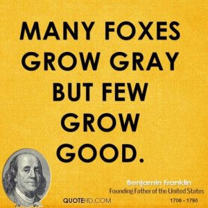 Benjamin franklin politician many foxes grow gray but few grow