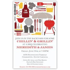 Cookout Silhouettes BBQ Invitations   PaperStyle More