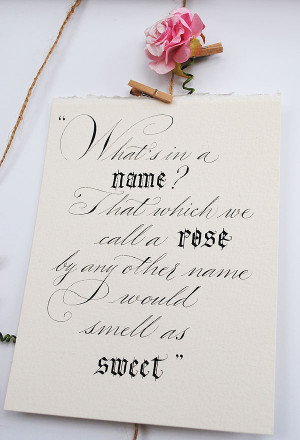 Romantic calligraphy quotes and wedding signs