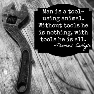 Tool quote. Black and white, hand tool.