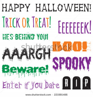 Halloween Phrases Clip Art Set. Halloween words graphics created using ...