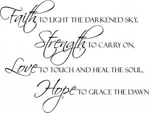 Faith Strength Love Hope | Wall Decals