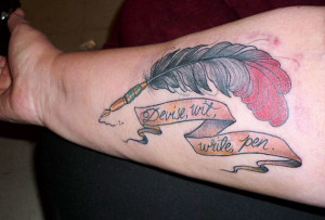 The Word Made Flesh : Photo quill pen tattoo