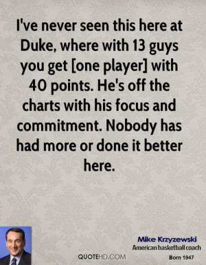 ve never seen this here at Duke, where with 13 guys you get [one ...