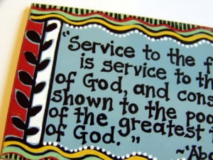 Baha'i quote about service -- art magnet