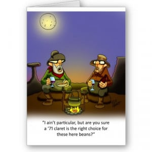 Funny Cowboy Claret Beans Joke Cartoon - I ain't particular, but are ...