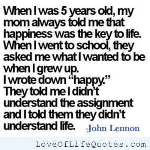 ... quote on happiness john lennon quote on being honest john lennon quote