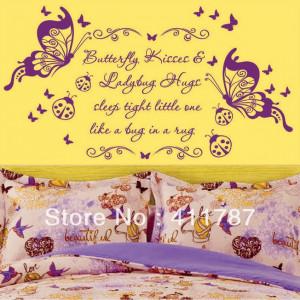 Free Shipping Home Decor Beautiful quote Flowers Butterflies Kiss Pvc ...