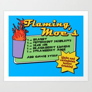 The Simpsons Flaming Moe Art Print Dutyfreak Society