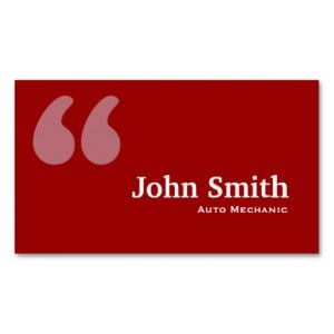 Red Quotes Auto Mechanic Business Card