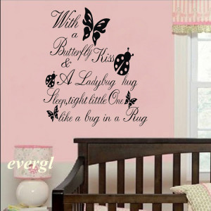 ZL Butterfly Kiss Ladybug HUG Quote Wall Sticker ART Vinyl Decal Baby ...
