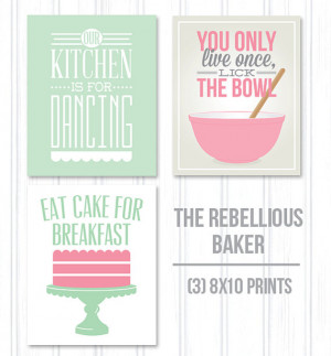... rules, eat cake for breakfast, lick the bowl, funny kitchen art prints