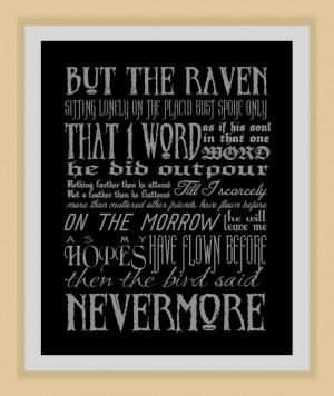 NEVERMORE Edgar Allan Poe quote modern print poster