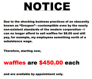 450 Waffle Restaurant Forced to Charge $450 a Waffle, Blames Groupon