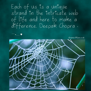 Each of us is a strand in the intricate web of life and here to make a ...
