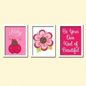 Cute Pink Ladybug Flower Quote Beautiful Custom Child Girl Name ...