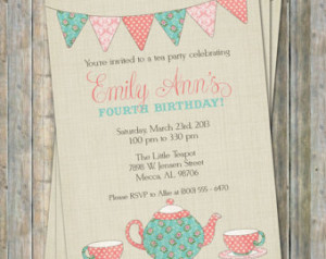 Tea Party Birthday Invitation, Time for tea birthday, little girl ...