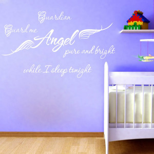 Guardian Angel Wings Quote wall sticker English Words stickers Art ...