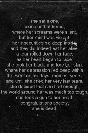 depressed depression sad suicide alone self harm society poetry ...