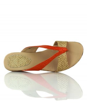 Tequila Sunrise - Gloss tan orange wood-grain wedge thongs