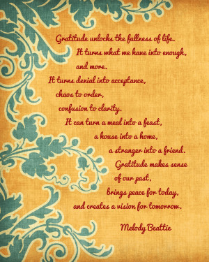 PRINTABLE: Gratitude Quote by Melody Beattie Printable