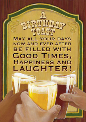 hazy jean birthday card beer cheers toast illustration