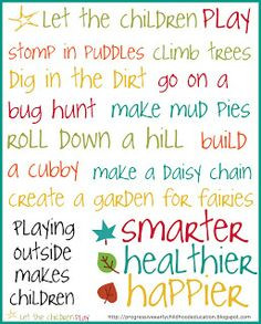 Early Childhood Quotes Play Outside Poster More
