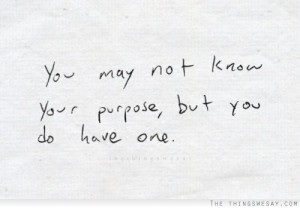 You may not know your purpose but you do have on