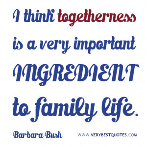 fAMILY QUOTES, I think togetherness is a very important ingredient to ...