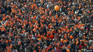 Thousands of people wearing orange, the national colour of the ...
