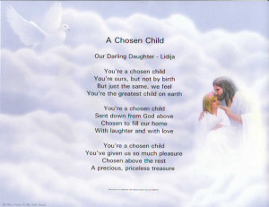 Chosen Child Inspirational Certificate for your adopted child.