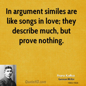 In argument similes are like songs in love; they describe much, but ...